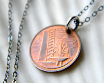 Sterling silver necklace with genuine Singapore 1 cent coin - 1975 - handmade jewelry