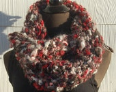 Grey, Red & White Handmade Crochet Mobius Cowl Neckwarmer OOAK