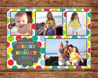 Photo Picture Christmas Holiday Card 4 photos multi polka dot merry and bright - Digital File