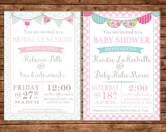 Invitation Baby Bunting Shower Birthday Party - Can personalize colors /wording - Printable File or Printed Cards
