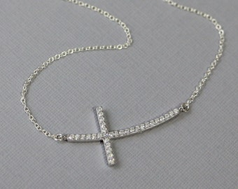 Sterling Silver and CZ Sideways Cross Necklace, Cross Necklace, Sterling Silver Sideways Cross Pendant on Sterling Silver Necklace Chain