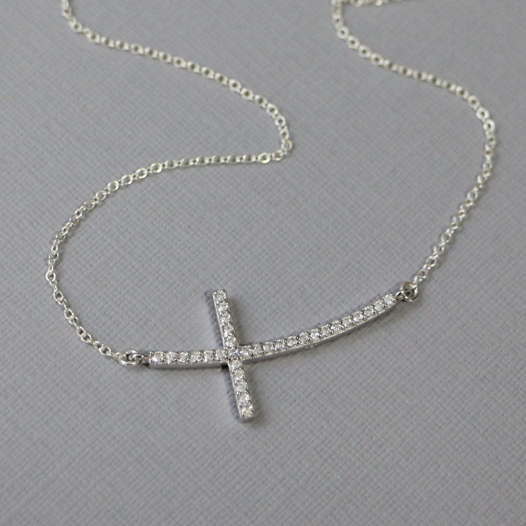 sterling silver and cz sideways cross necklace cross