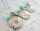Personalized Bridesmaids Gifts - Birch Bark Bridesmaids Necklaces - Rustic Monogram Necklace - Silver and Mint Green Birch Bark Jewelry