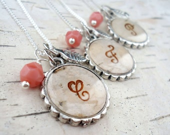 Birch Bark Bridesmaids Necklace - Personalized Bridesmaids Gift - Rustic Letter Monogram Necklace - Silver and Pink Coral Birch Bark Jewelry