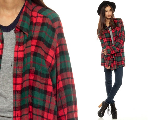 90s plaid shirt oversized red flannel shirt green grunge up ForRed And Green Checked Shirt