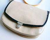 SALE Beige Patent Leather Purse Shoulder Bag