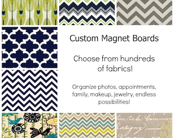 Magnet Board - Design Your Own Magnetic Memory Board - Choose Your Fabric - 11 x 12 - Free Standing
