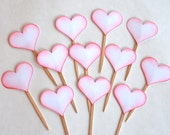 Red Hearts, Love, Wedding, Valentine's Day, Anniversary - Cupcake Toppers/Party Sticks