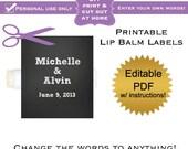 DIY editable printable lip balm labels (No.10) chalkboard favors baby shower or wedding or bridal or graduation PDF Digital File