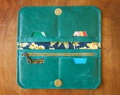 "Leather Fold Wallet ""The Filly"" in Deep Sea Green"