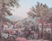 1960s Currier & Ives Color Plate Reproduced From The Original Hand-Colored Stone Print Vintage Book Page