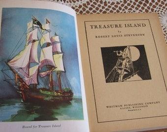 1930s TREASURE ISLAND-Antique Hardcover Book, Childrens Classic by Robert Louis Stevenson