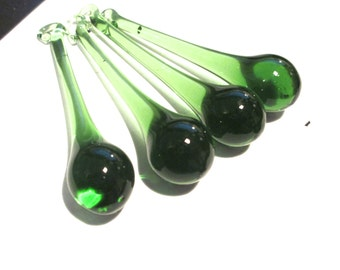 4 Green Glass Chandelier Crystals 80mm Raindrop Crystal Prisms (S-14)