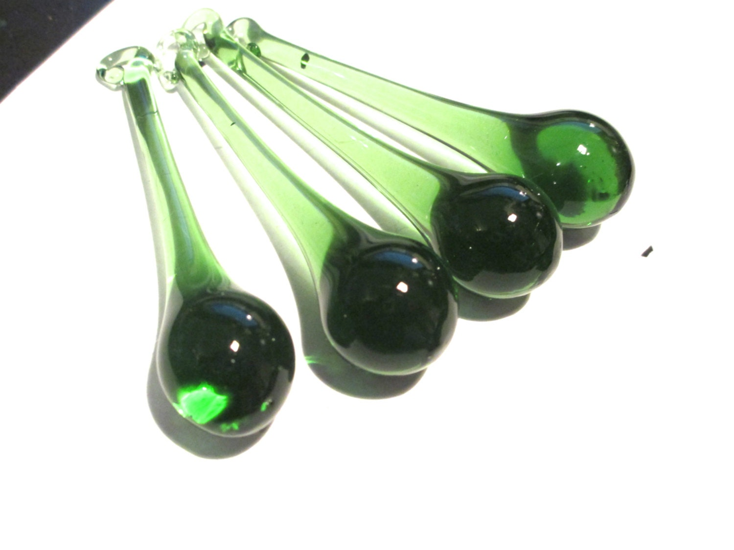 4 Green Glass Chandelier Crystals 80mm Raindrop Crystal Prisms