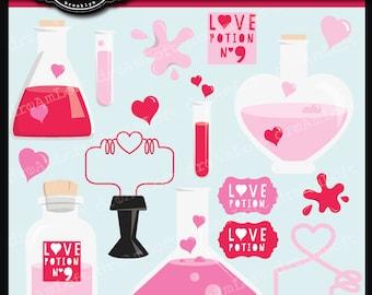 Love Potion Valentine Clip Art PNG, JPG, EPS