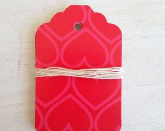 Party Decoration Tags, Favor Tags, Escort Tags Red Heart Shipping Tags 20 pcs High Quality Recycled Paper