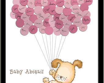 Puppy Dog Themed Baby Shower Guest Book Print - Girl
