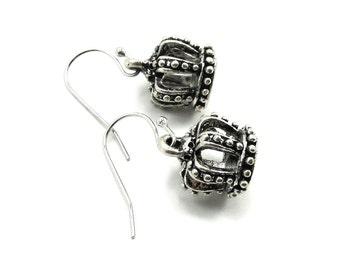SALE 50% OFF Gothic Lolita Earrings - Heraldic Harlequin Crown Earrings in Antiqued Silver - by Ghostlove