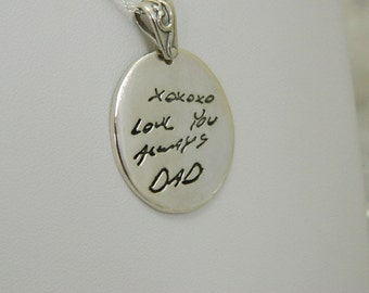 Handwriting In Memory of Dad Signature Jewelry in Sterling Silver