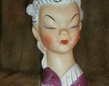 Head Bust  Oriental Figurine Women Bust Head  Home Vase Art decor