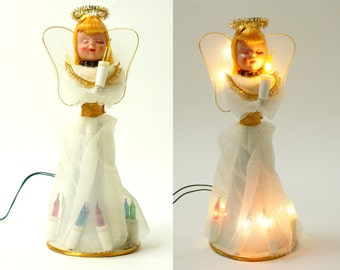 Vintage Lighted Angel Tree Topper / Colored Lights, Gold Halo, Angel Wings