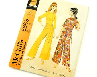 Vintage 1960s McCalls Pattern 8883 / 60s Womens Size 12 Pantdress in Two Versions / bust 32 / Complete