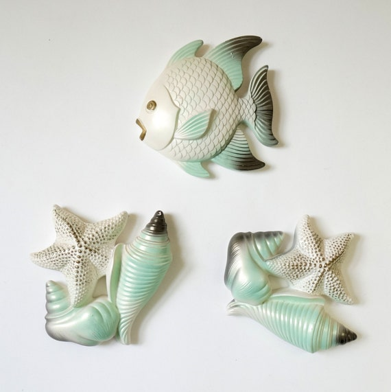 Miller Studio Fish Seashell Chalkware Wall Hanging By