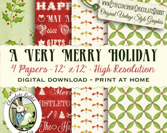 Merry Holiday Christmas Scrapbook Four Papers Digital Download Printable Clip Art DIY Image Collage Gift Wrap Handmade Sheets