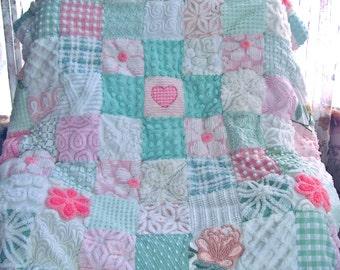 CUSTOM QUILT SAMPLE - Cross My Heart Vintage Chenille Handmade Quilted Coverlet