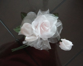 Vintage Light Pink Organza Rose Flower Milinery 60's