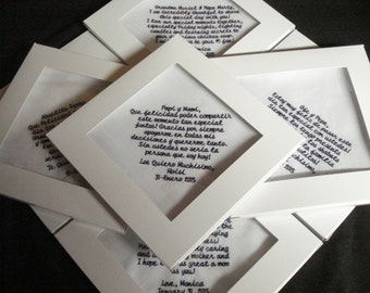 7 Wedding Handkerchiefs - FREE SHIPPING - Save the Date custom embroidered handkerchief with boxes