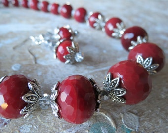 Graduated Cranberry Jade with Silver Crystals Necklace and Earrings