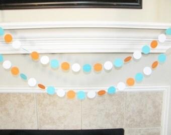 Turquoise, Orange, White Paper Garland, Turquoise Orange Baby Shower Decorations, Goldfish 1st Birthday Decor, Turquoise Wedding, Photoprop