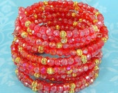 6 Iridescent Red Crystal Bracelet Set Faceted Fire Polish Gold Bead Memory Wire Stocking Stuffer Party Favor Bulk Bangles Christmas Jewelry