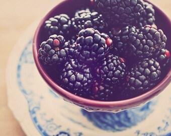 Blackberries Photograph, Kitchen Art, Home Decor, Fine Art Photography, Still Life, Shabby Chic Food Photography, Summer Photo