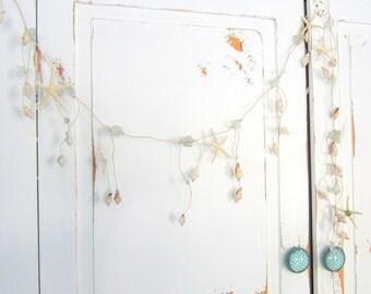 Beach Decor Sea Glass Garland, Nautical Decor Beach Glass Garland, Starfish Garland, Beach Wedding Garland, Coastal Decor - 5.5FT  #SGG100