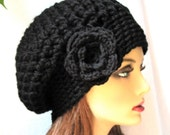 Black Slouchy Beret, Womens Hat, Chunky, Flower, Head Cover, Teens, City Hat, Birthday Gifts, Gifts for Her, JE410BESF