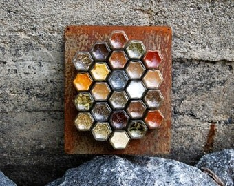 Rustic Home Decor // Magnetic Spice Rack:  24 Empty Customized Small Hexagon Jars (1.5 oz), Hand-Stamped Lids & Naturally Rusted Wall Plate.