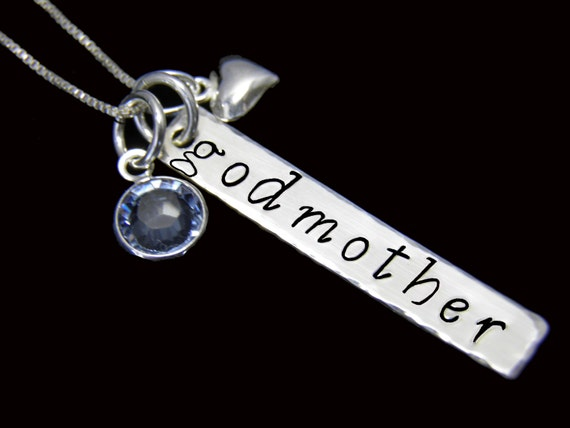 Godmother Necklace, Personalized GODMOTHER Sterling Silver Necklace, Godmother Gift - Custom Hand Stamped Jewelry, Personalized Necklace