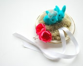 blue bunnies alternative ring bearer pillow, wedding party engagement ring holder, woodland wedding, alice in wonderland, blue pink white