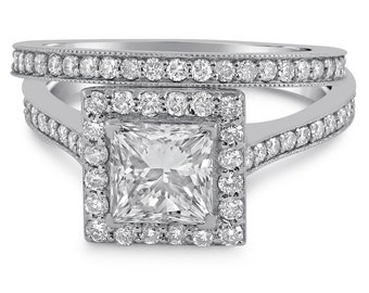 Princess Cut Antique Style Diamond Engagement Ring with Halo P71