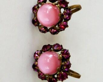 Vintage Rhinestone Earrings Pink Glass Screw Back 1940s