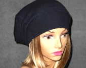 Anna, 100% pure cashmere hat,  slouchy, beanie, navy  color