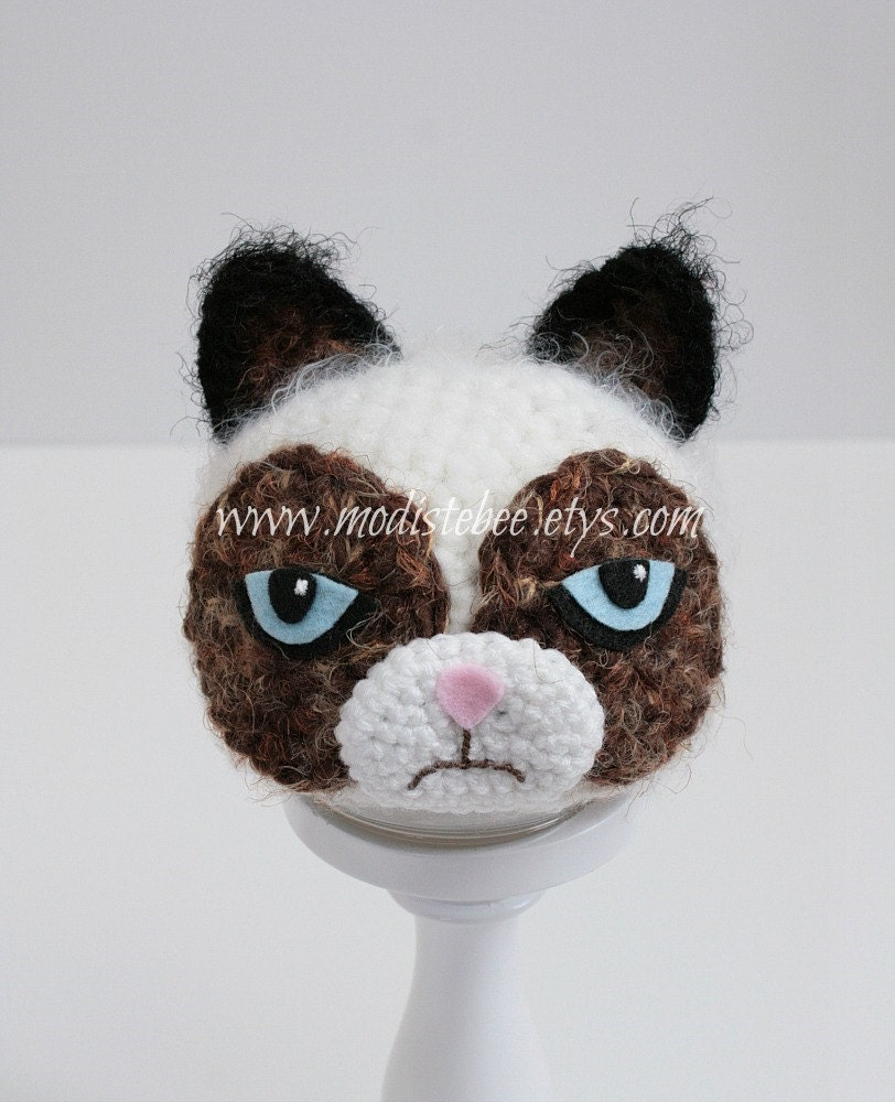 ready to ship grumpy cat hat newborn photography by modistebee. Black Bedroom Furniture Sets. Home Design Ideas