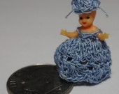 Vintage Tiny Miniature Doll with Crochet Dress and Hat.  Doll House. Miniature doll