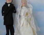 Vintage Hand Made Bride and Groom Ragdolls. Wedding Cloth dolls. Signed.