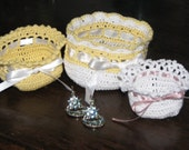 Crochet lace basket is perfect for Easter, jewelry, small treasures - handmade in heart of Ohio