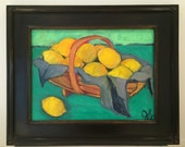Framed Oil Painting - 12x16 // fruit // lemon painting // Lemons in Trug // Still Life Fruit Basket