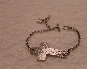 Silver Sideways Cross Bracelet