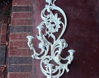 Vintage Shabby Chic Candelabra Syroco candle Holder Sconce Hollywood Regency French Chic